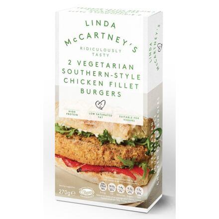 Linda McCartney's 2 vegetariánské 'kuřecí' filetové burgery v jižanském stylu 270 g
