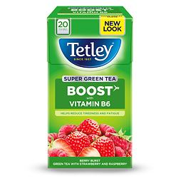 Tetley Super Green Tea Boost Strawberry & Raspberry 20 ks 40 g