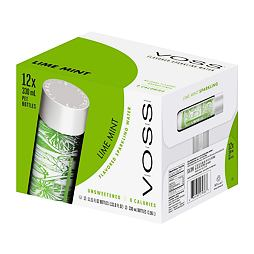 VOSS lime mint sparkling glass bottle 375 ml box of 12