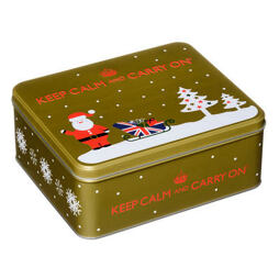 Keep Calm and Carry On Tea & Shortbread Biscuit Gold Festive Tin 225 g