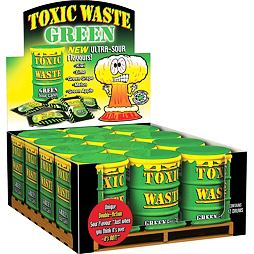 Toxic Waste Green Sour Candy 42 g Celé Balení 12 ks