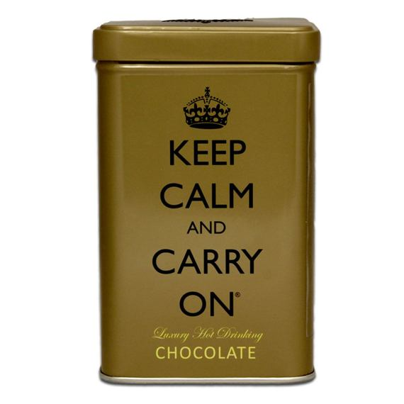 Keep Calm and Carry On Gold Tin Luxury Hot Drinking Chocolate 120 g
