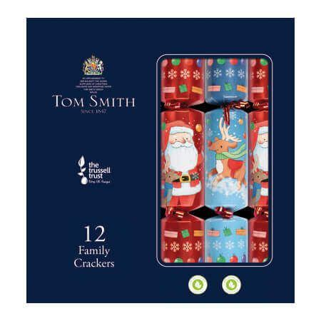 Tom Smith 12 Red & Blue Family Christmas Crackers