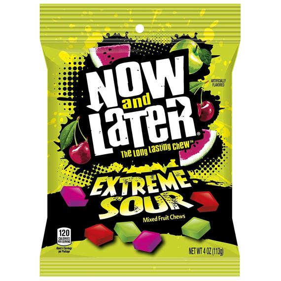 Now and Later Extreme Sour Mixed Fruit Chews 113 g
