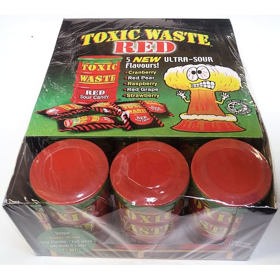 Toxic Waste Red Sour Candy 42 g 12 ks Celé Balení