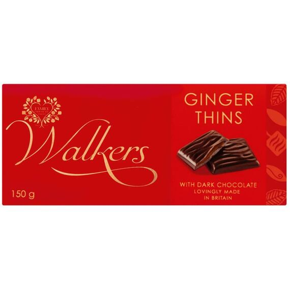 Walkers Ginger Thins Dark Chocolate 150 g