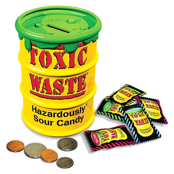 Toxic Waste Yellow Sour Candy Money Bank 84 g