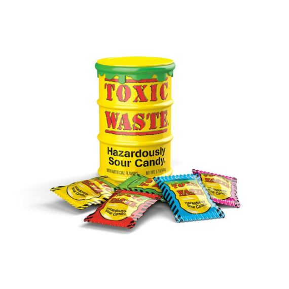 Toxic Waste Yellow Sour Candy 42 g 12 ks Celé Balení